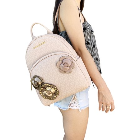 d958c25a4668ca Michael Kors - Michael Kors Abbey Medium Backpack Ballet Pink MK Signature  Flower School Bag - Walmart.com