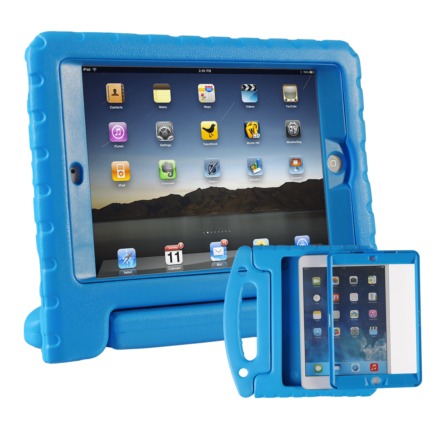 HDE iPad Mini 1 2 3 Bumper Case for Kids Shockproof Hard Cover Handle Stand with Built in Screen Protector for Apple iPad Mini 1st 2nd 3rd Generation (Blue)