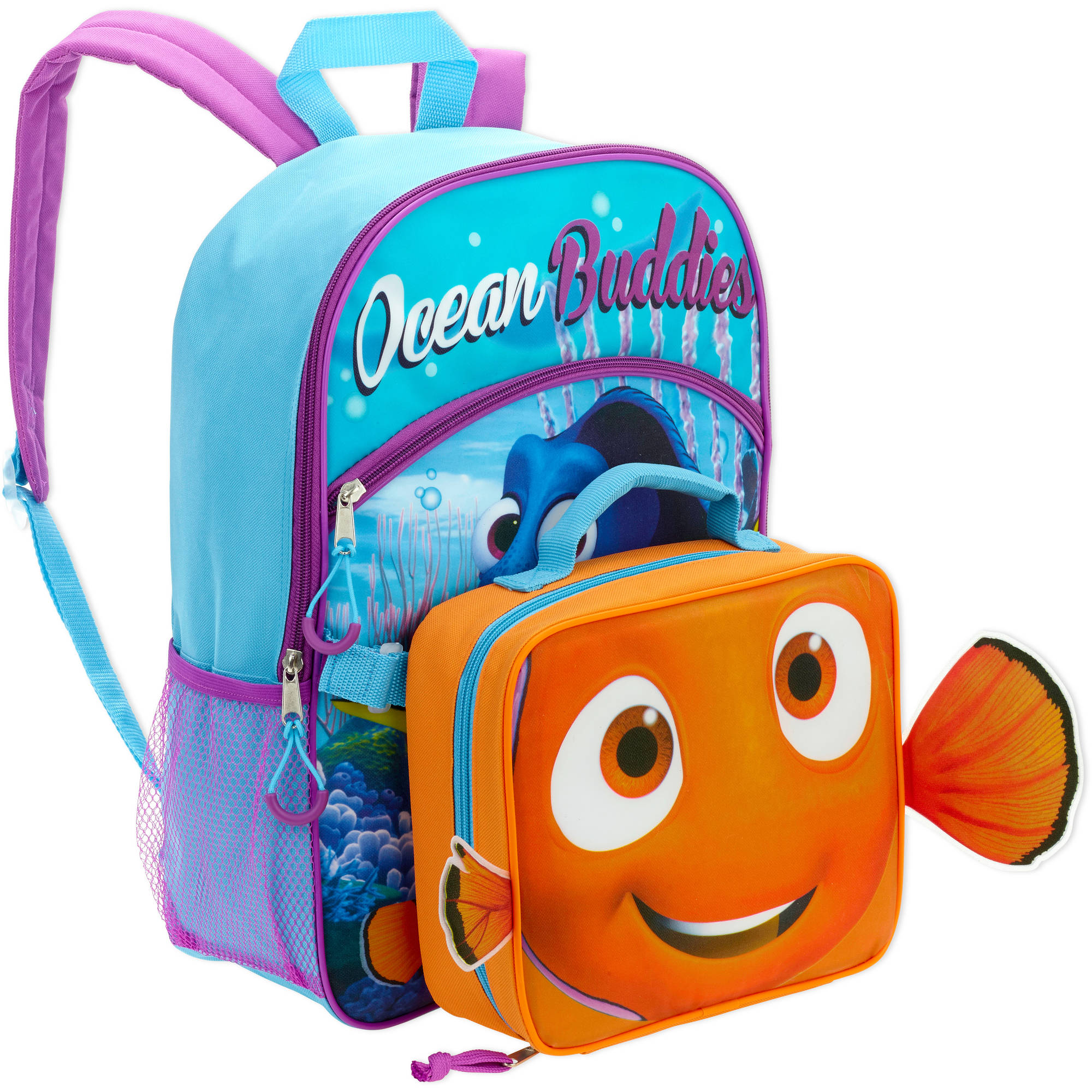 "16"" Disney Finding Dory Full Size Backpack w/ Detachable Lunch Bag"