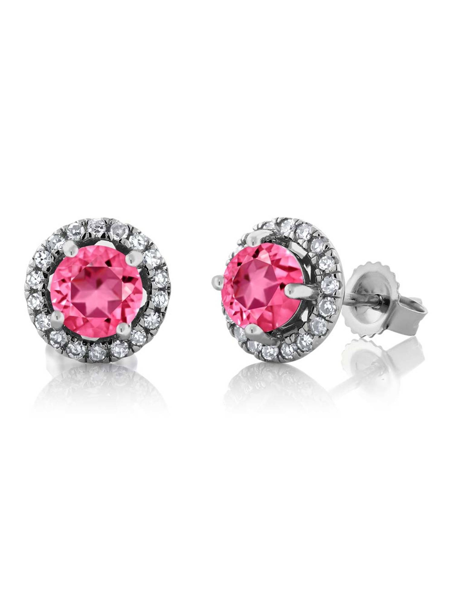 14K White Gold Diamond Earrings Set with Round Pink Topaz from Swarovski by