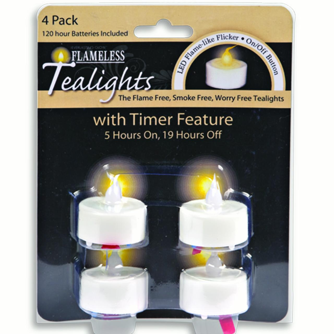 Everlasting Glow LED Tealight with Soft Glow Flicker and Timer (Set of 4)