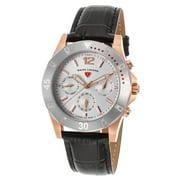 16016Sm-Rg-02-Sb Paradiso Diamonds Black Genuine Leather Silver-Tone Dial Rose-Tone Ss Watch