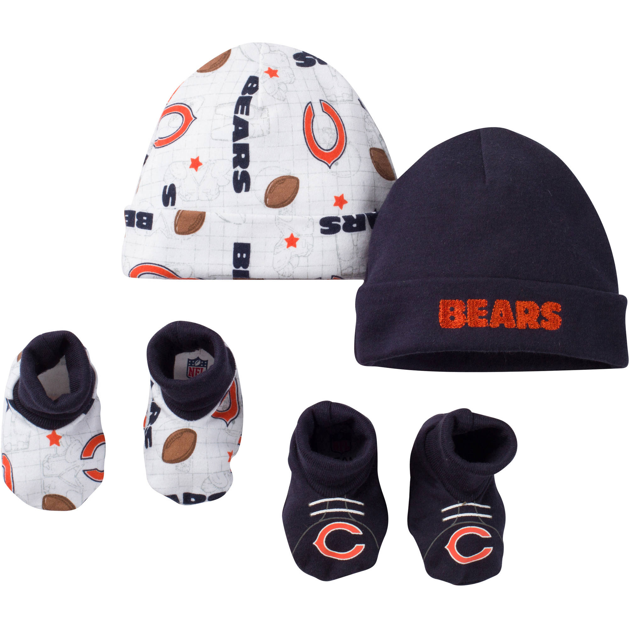 NFL Chicago Bears Baby Boys Accessory Set, 2 Caps and 2 Booties, 4-Piece
