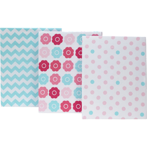 Little Bedding by NoJo Tickled Pink Set of 3 Crib Sheets