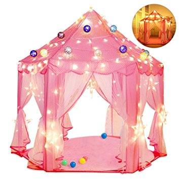 Kids Indoor Princess Castle Play Tents, Pink Princess Tent, Children Game Play Toys Tent, Girls Playhouse,... by Generic