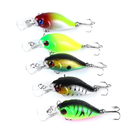 5PC 5cm/4.2g Fishing Lure Kit Floating Artificial Bait Crankbait Set Treble Hook Set Swim Bait with Fishing Tackle - Crankbait Tackle Box