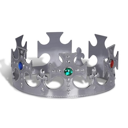 Cheap Plastic Crowns (Club Pack of 12 Plastic Jeweled Silver King's Crown Adjustable Party)