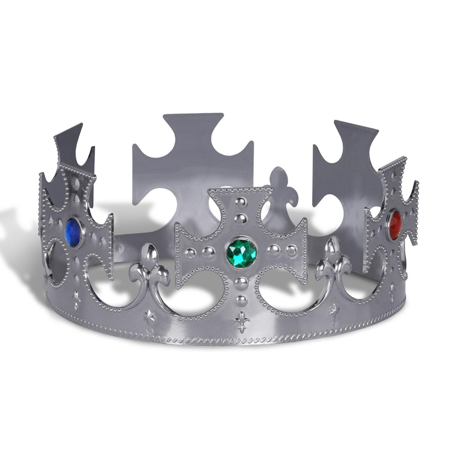 Club Pack of 12 Plastic Jeweled Silver King's Crown Adjustable Party Hat