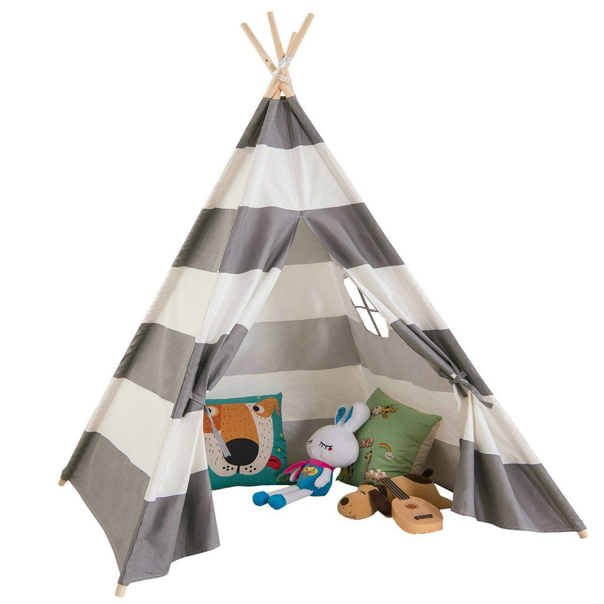 Giant Canvas Kids Teepee Play Tent, Grey Stripes by