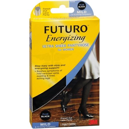 FUTURO Energizing Ultra Sheer Pantyhose For Women French Cut Lace Panty Mild Plus Black 1 Pair