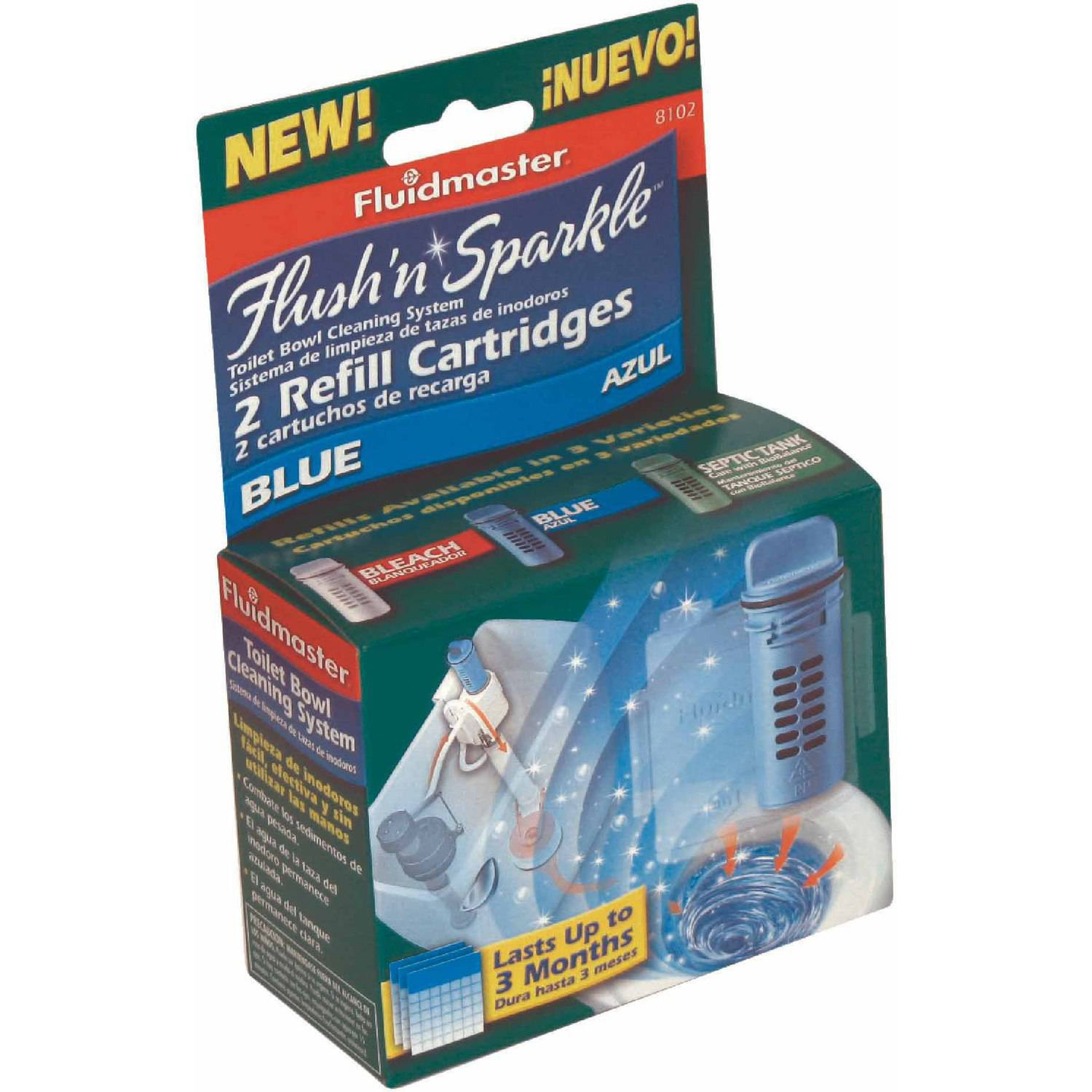 Fluidmaster 8102P8 Flush 'N' Sparkle Toilet Bowl Refill Cartridges 2 Count