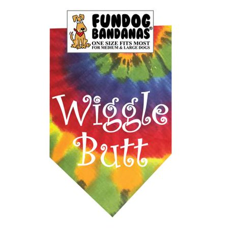 Fun Dog Bandana - Wiggle Butt - One Size Fits Most for Med to Lg Dogs, dark tie dye pet (Tie Bandana Dog)