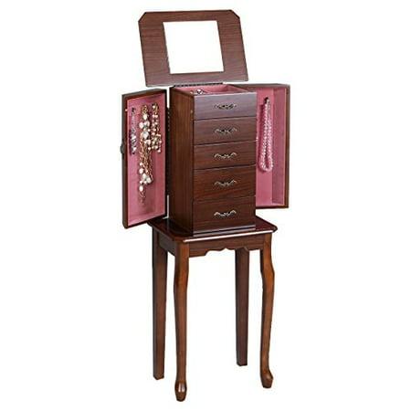 Jewelry Cabinet Armoire Storage Chest Stand Organizer Wood Box Walnut - Wood Jewelry Boxes