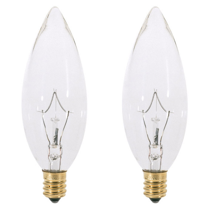 2 Pk Satco S4711 25W 120V B9.5 Clear E14 Intermediate Base Incandescent bulb by Satco