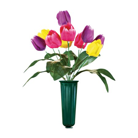 Tulip Flowers Bouquet Cemetery Grave In Memorial Flower Vase Small