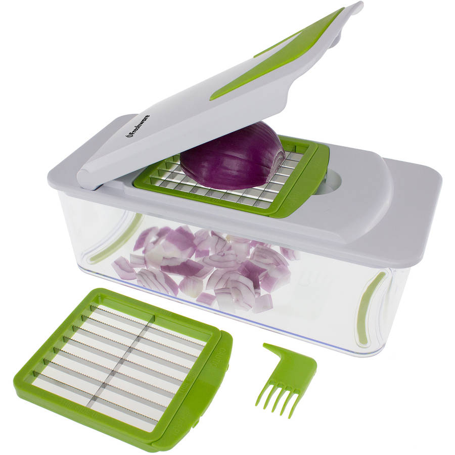 Freshware 7-in-1 Onion, Vegetable, Fruit and Cheese Chopper with Mandoline Slicer and Storage Lid, KT-406