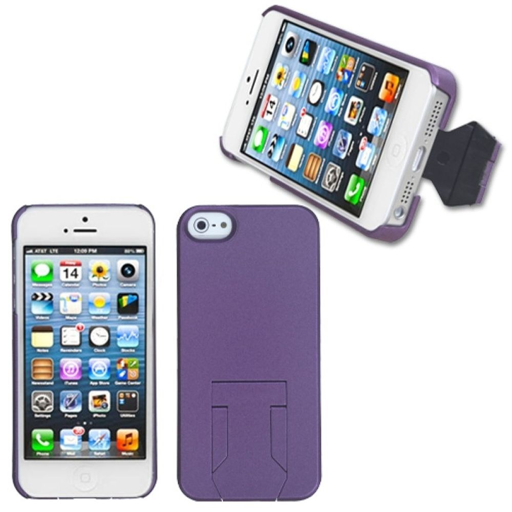 Insten Fusion Hard Dual Layer Plastic Silicone Case w/stand For Apple iPhone 5/5S/SE - White/Purple