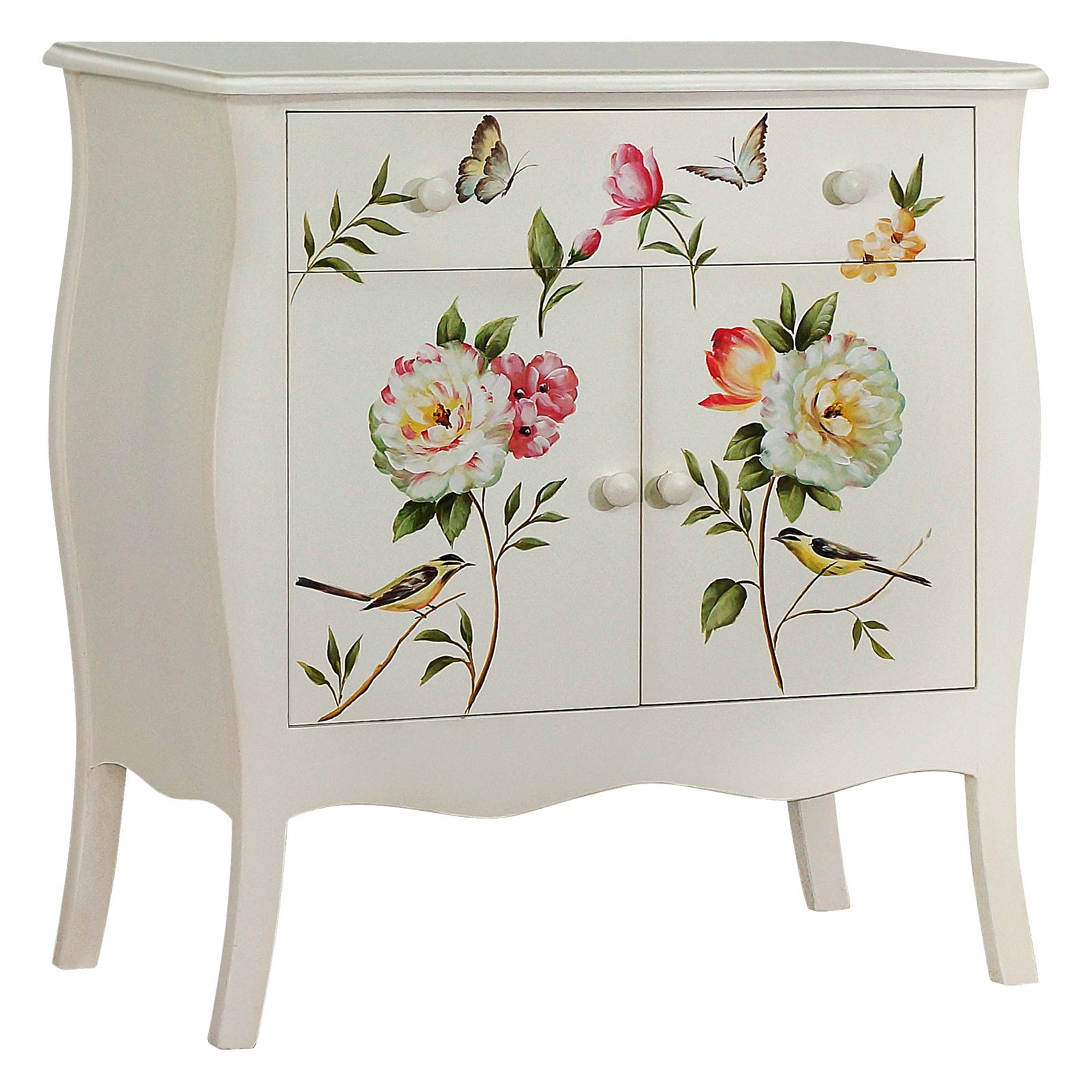 Gallerie Decor Floral Gardens Hand-Painted Cabinet