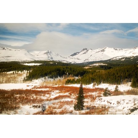 Framed Art for Your Wall Landscape Glacier National Park Snow Winter Montana 10x13 Frame (Montana Frame)