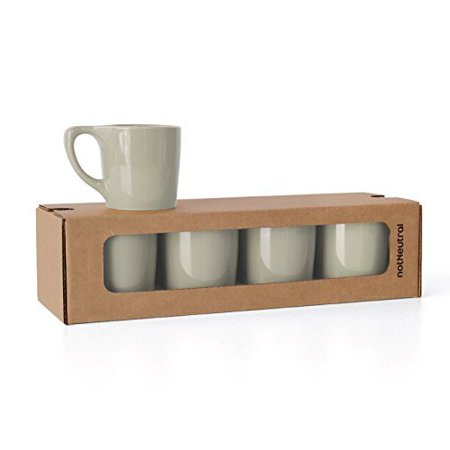 notNeutral LINO 10 oz Porcelain Coffee Cups | for Specialty Coffee Drinks, Latte, Cappuccino, Mocha and Tea | for Personal, Restaurant, Commercial Use | Light Gray Set of