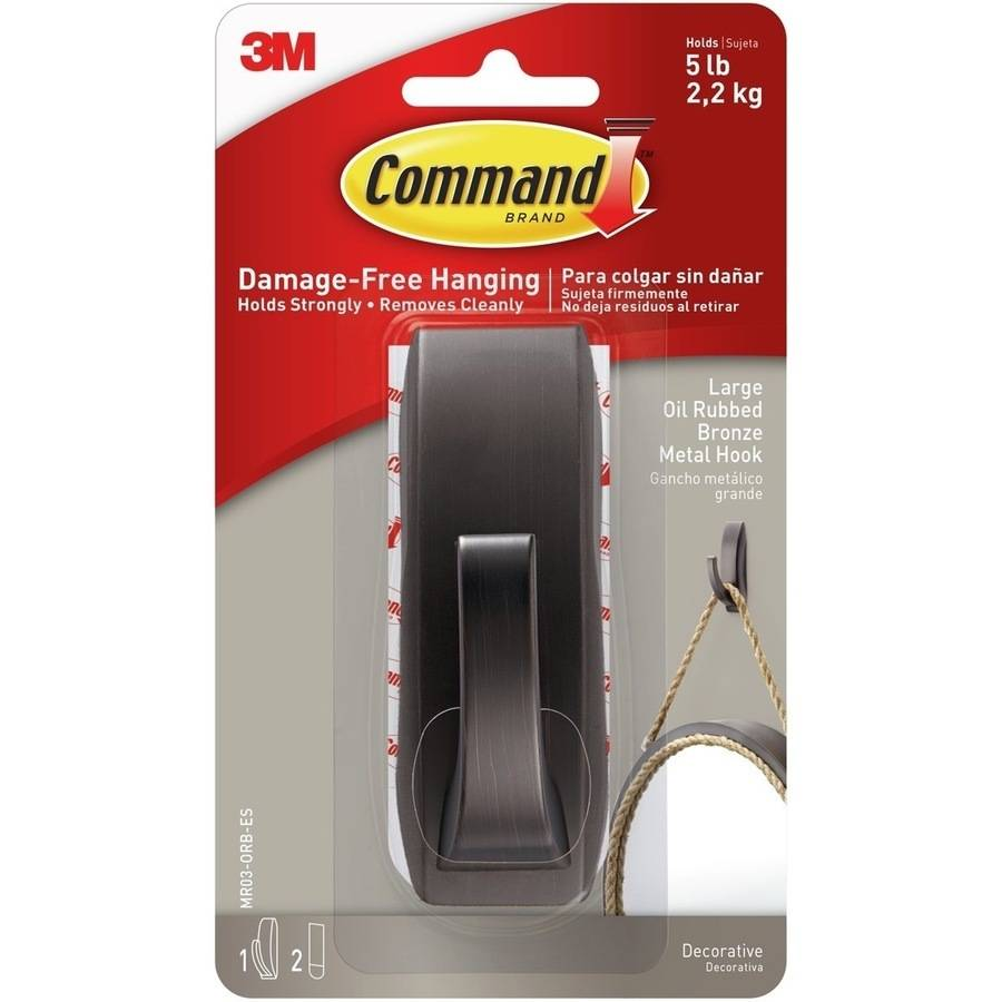 Command Modern Reflections Metal Hook, 1pk, 1 Bronze Hook and 2 Strips