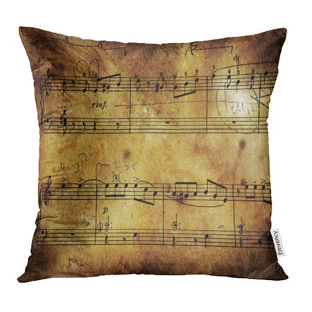 USART Score Old Music Sheet Blank Guitar Vintage Aged Antique Arrangement Artistic Pillowcase Cushion Cases 16x16 inch (Antique Vintage Sheet Music)