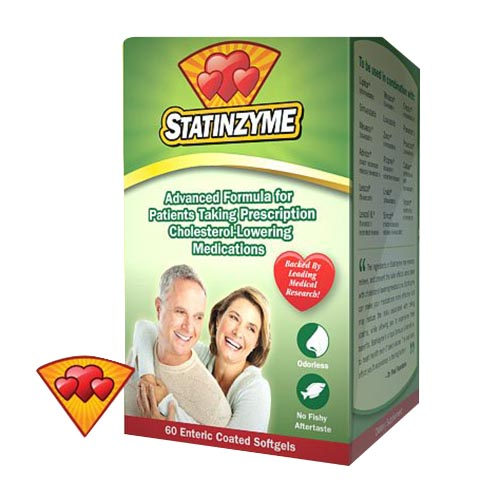 Statinzyme Enteric Coated Softgels for Lowering Cholesterol Medications, 60 ea