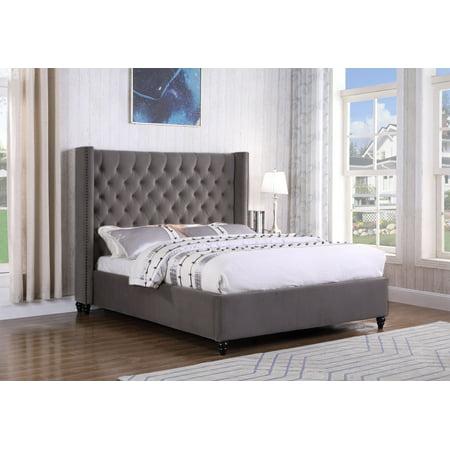 Best Master Furniture Holland Grey Tufted Wingback Platform Bed, Cal. King ()