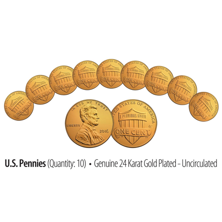 Lot of 10 - Uncirculated Genuine 24K GOLD Plated 2016 US LINCOLN SHIELD PENNIES