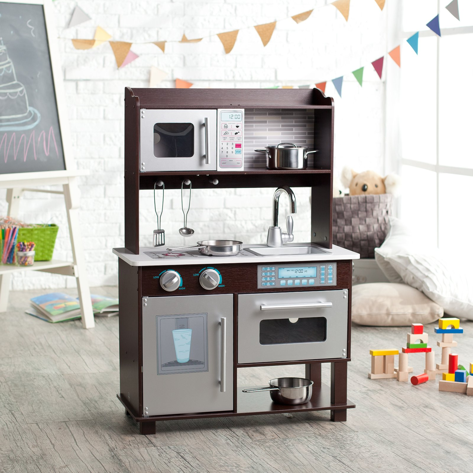 Awesome KidKraft Espresso Toddler Play Kitchen With Metal Accessory Set   53281    Walmart.com