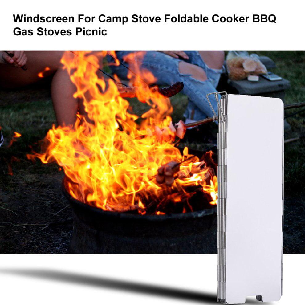 Campfire Wind Screen Shield Folding 8 Panel Lightweight Compact Camp Picnic BBQ