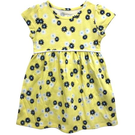 Toddler Girl Cap Sleeve Daisy Print Knit Dress