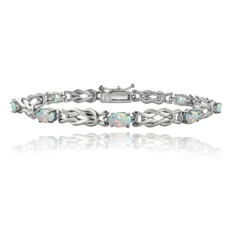- Sterling Silver 2.1ct Created White Opal & Diamond Accent Oval Love Knot Bracelet