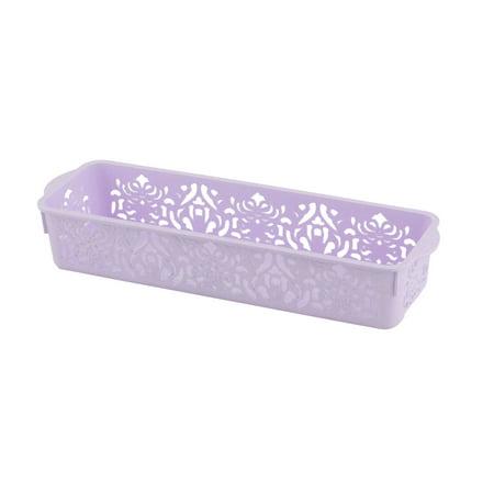 Office Plastic Flower Pattern Hollow Out Design Storage Basket Container Purple (Purple Storage Bins)