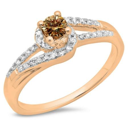 18k White Gold Twist (0.45 Carat (ctw) 18K Rose Gold Round Cut Champagne & White Diamond Ladies Twisted Split Shank Bridal Engagement Ring 1/2)
