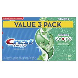 Crest Complete Whitening + Scope Toothpaste, Minty Fresh, 6.2 oz, 3 Count
