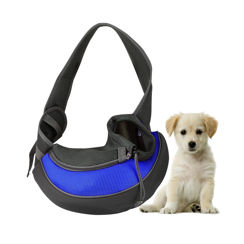Pet Puppy Carrier Sling Hands-Free Shoulder Travel Bag. Great For Walking Your Pet. Dog Cat Pet Puppy Outdoor Reversible Pouch Mesh Shoulder Carry Bag Tote Handbag Carrier- (Blue/Large)