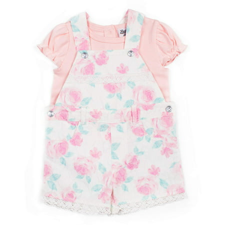 Short Sleeve Bodysuit & Printed Lace Shortall, 2pc Outfit Set (Baby (Christening Shortall)