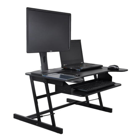 - PYLE PDRIS06 - Computer Laptop Workstation Stand - Height Adjustable Siting/Standing Desk, Quick Setup Pop-Up Design