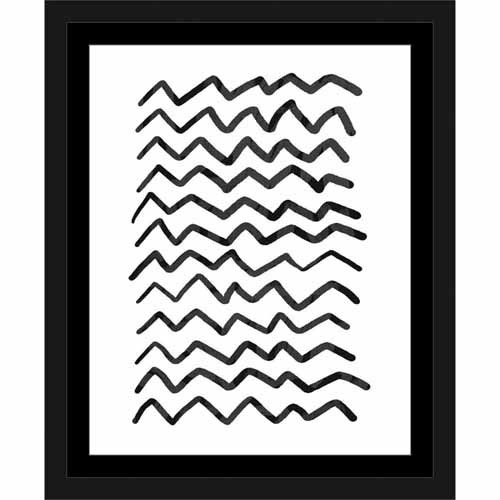 Black Chevron Drawing Abstract Pattern Contemporary Modern Trendy Black & White, Framed Canvas Art by Pied Piper Creative
