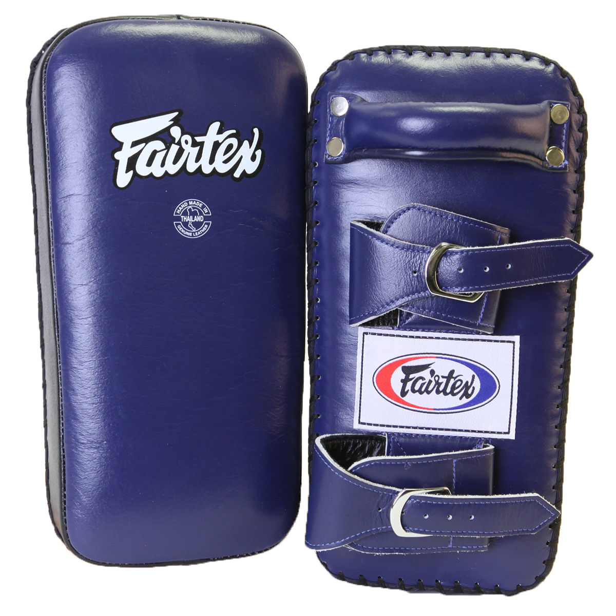 Fairtex Extra Thick Thai Kick Pads with Buckle - Blue/Black