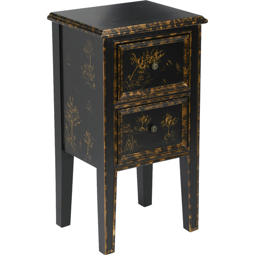 AA Importing 2 Drawer Chinoiserie End Table by AA Importing