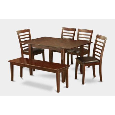 6-piece Small Table and 4 Kitchen Chairs and Dining Bench Faux leather