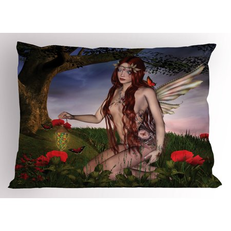 Fantasy Pillow Sham Redhead Fairy with Wings Holding a Butterfly Catcher Lantern Surrounded by Poppies, Decorative Standard Size Printed Pillowcase, 26 X 20 Inches, Multicolor, by Ambesonne