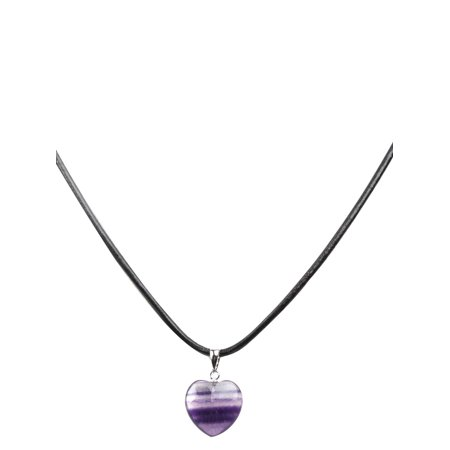 Heart Shaped Leather (Fashion Women Sterling Silver Fluorite Heart Shape Pendant Leather Cord Necklace)