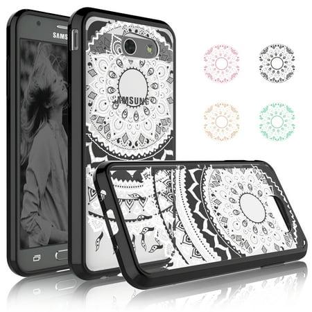 Galaxy J7 Perx Case, Galaxy J7 Sky Pro / Halo Case, Njjex 2-Piece Retro Flower Pattern Slim Transparent Scratch Resistant Hard Case Cover For Samsung Galaxy J7 V / J7 2017 Release -Black ()