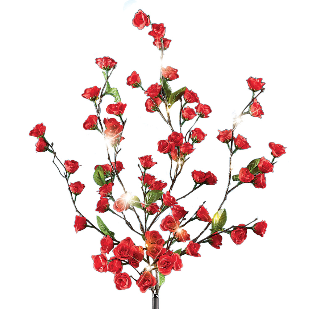 Solar Red Rose Bush Stake With 15 Led Sparkling Lights And