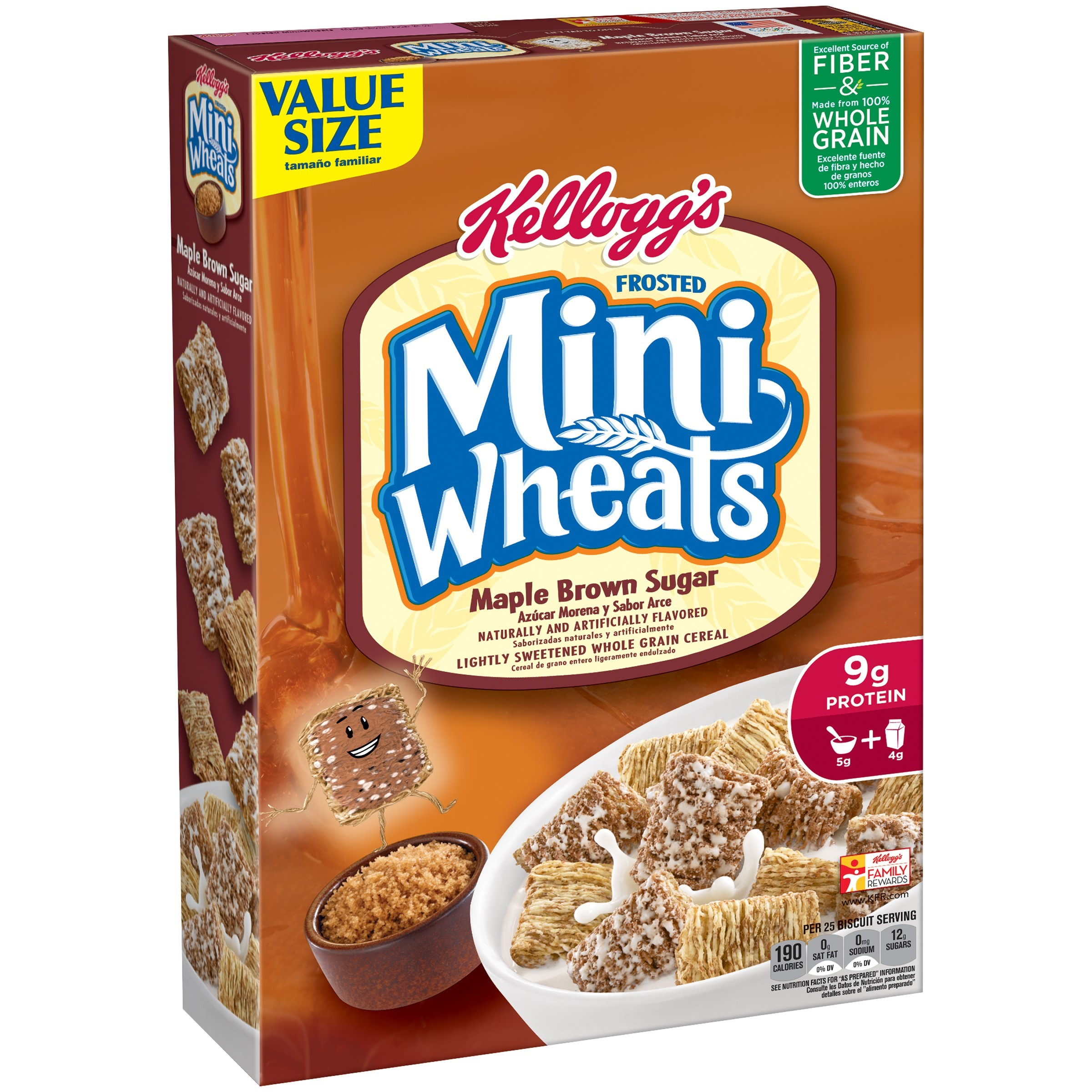 Kellogg's Frosted Mini Wheats Cereal, Maple Brown Sugar, 21 Oz
