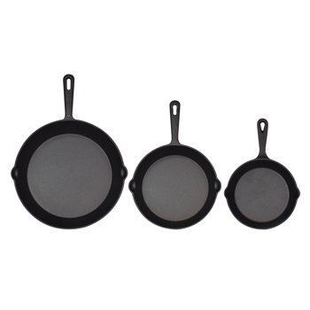 Jim Beam 3 Piece Cast Iron Pre Seasoned Skillet Pans Set