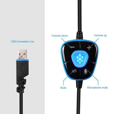 SADES Headset Spirit Wolf 7.1 Computer Headphone Gaming Blue/White - image 4 of 6